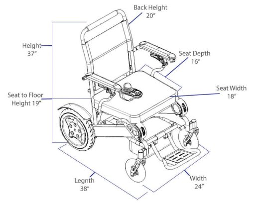 Dimension measurements Elite Model Easyfold portable power wheelchair