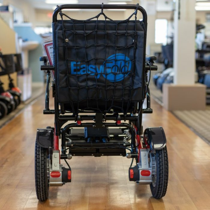 Electric wheelchair cargo net fitted on an easyfold powerchair