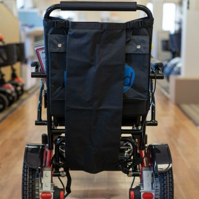 Mobility Wheelchair Oxygen Tank Holder fitted to easyfold powerchair backview